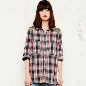 Free People Plaid Sequin Yoke Buttondown